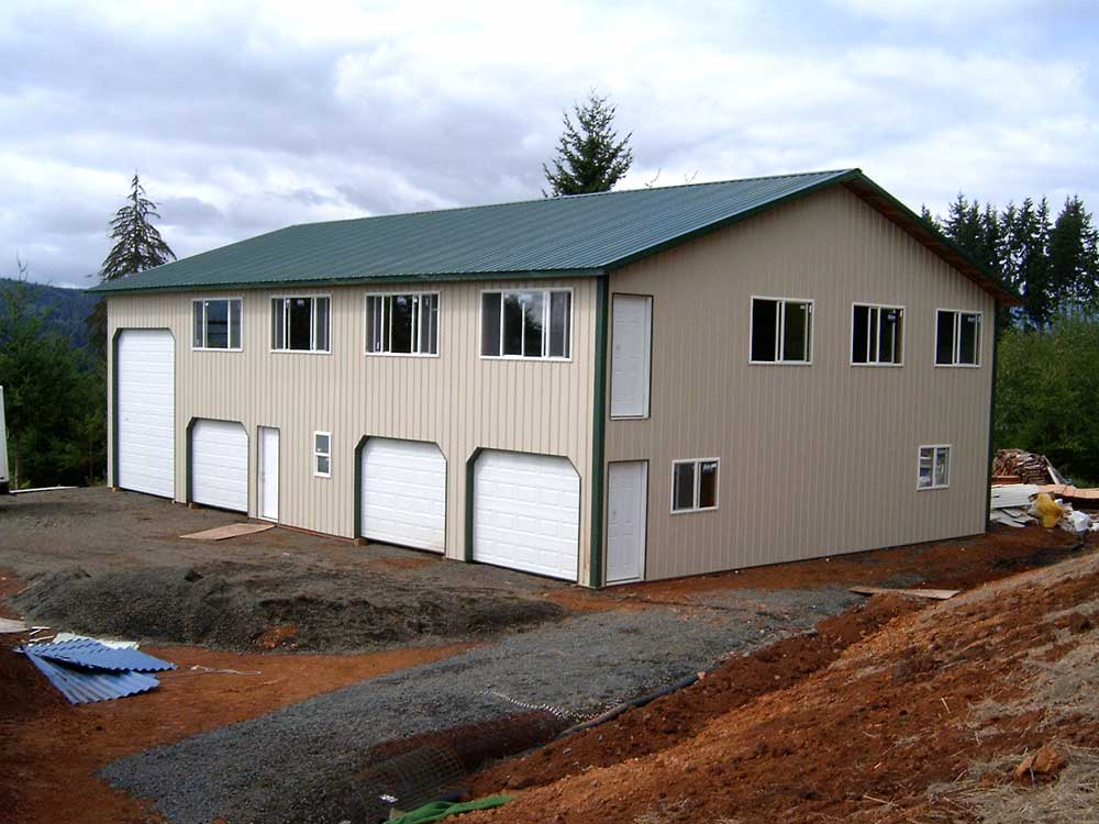 Post frame home spotlats Metal building garage apartment