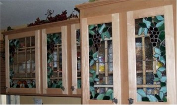 Tuscan Stained Glass Kitchen Cabinets