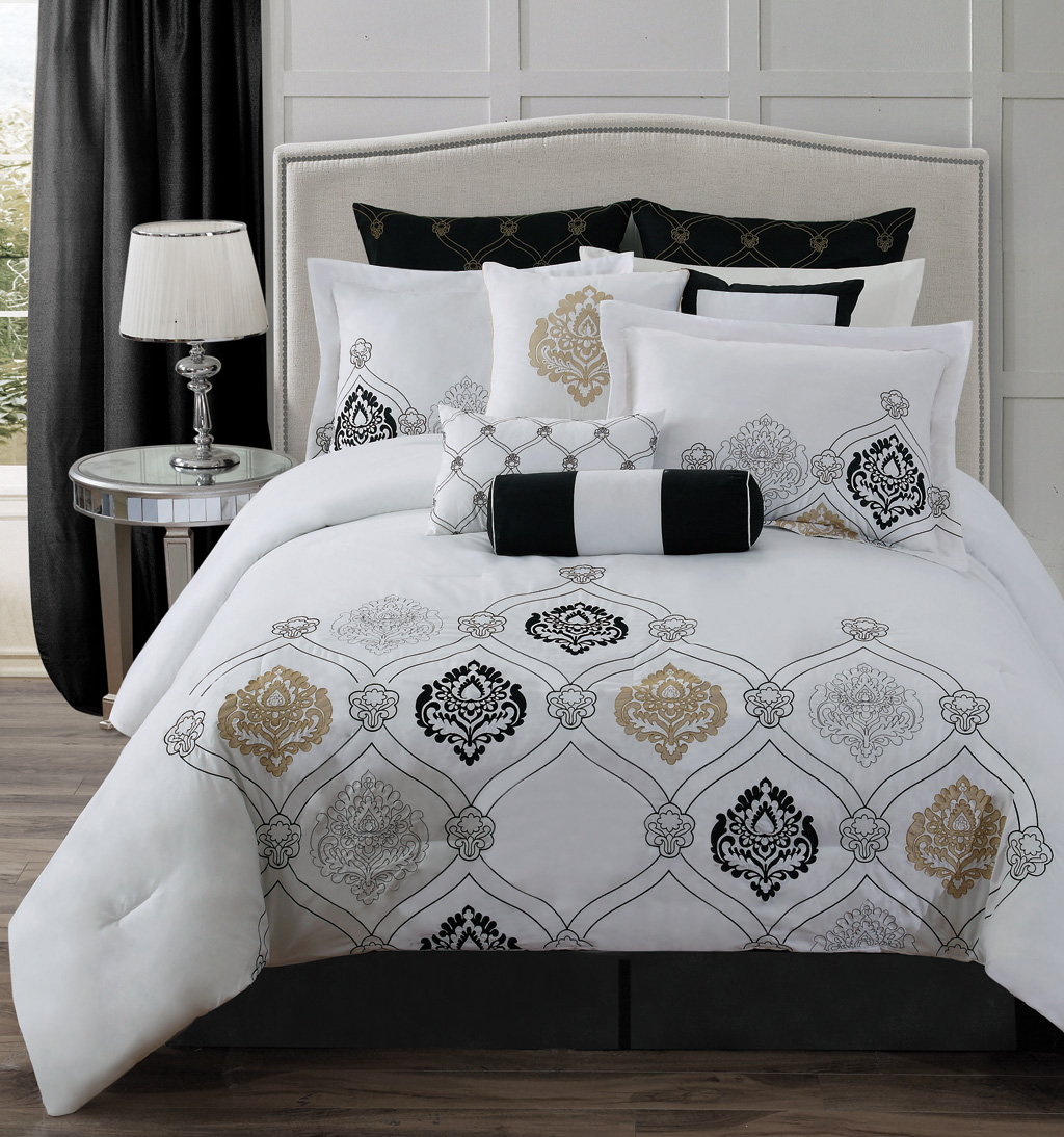 comforter printed bedding intelligent overstock product set khloe today piece free shipping metallic aqua design bath silver