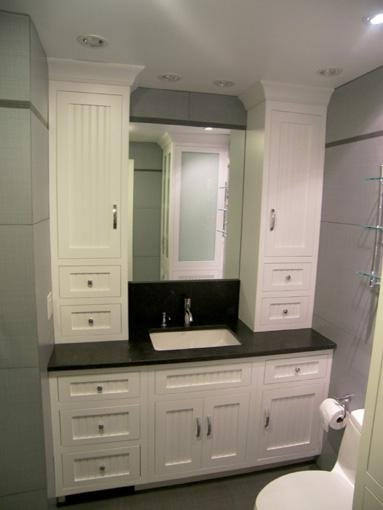 Custom Made Bathroom Vanity And Linen Cabinet