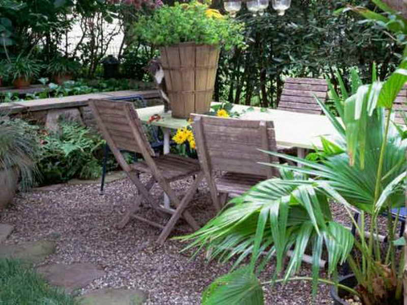 Gravel Ideas For Backyard Landscaping With With Wood Chairs Enclosed