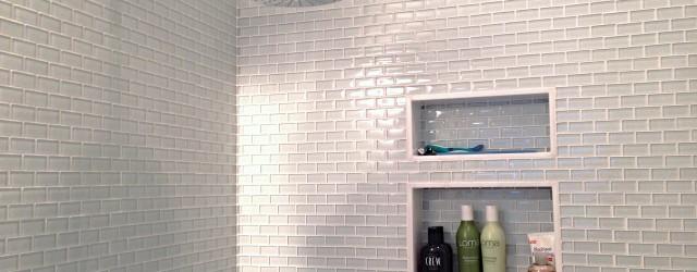 Large white glass mini subway tile shower walls