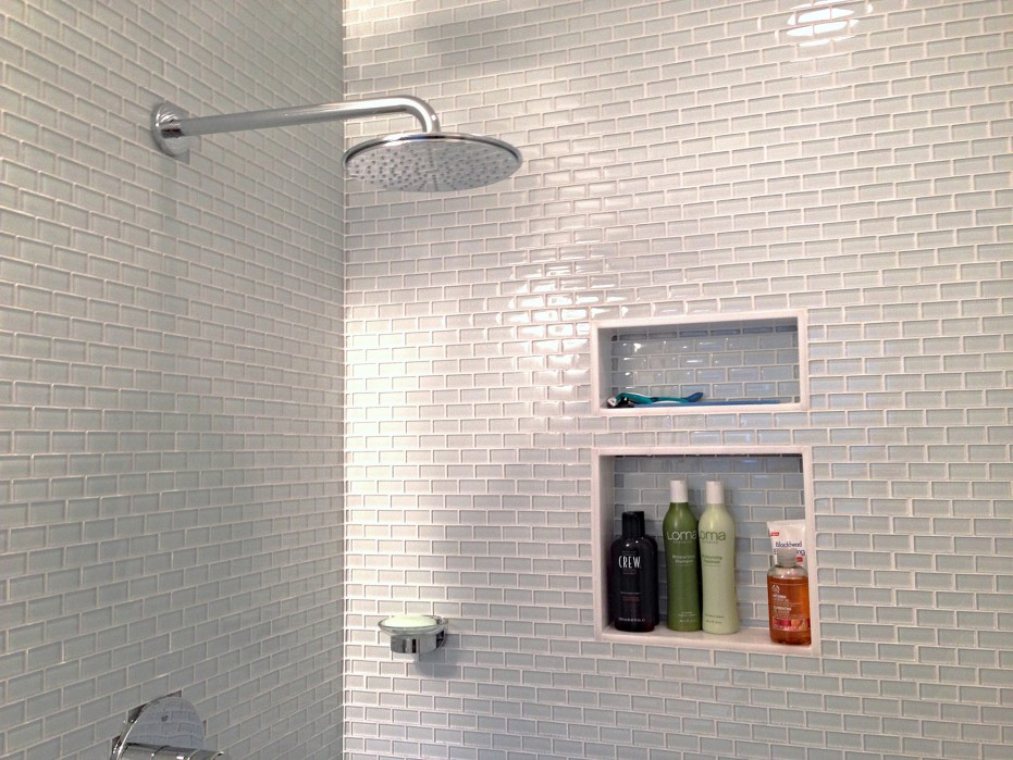 Large White Glass Mini Subway Tile Shower Walls