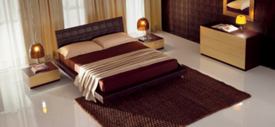Modern Bedroom Ideas Design with Brown Curtain
