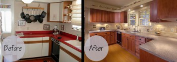 Refinishing Kitchen Cabinets Before And After