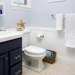 Wainscoting In Bathroom Ideas With Pale Blue Wall