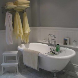 Wainscoting In Bathroom Ideas With Yellow Towel