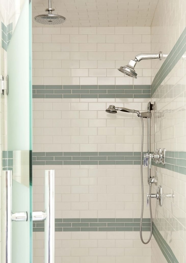 White Subway Tile With Glass Tile Bands