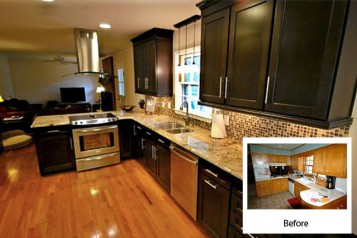 Panel Flat Before After Kitchen Cabinet Refacing